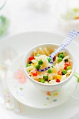 Orzo pasta with vegetables as baby food