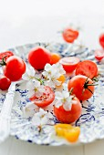 Grape tomatoes, cherry tomatoes and white cherry blossom
