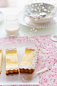 Lemon tart and a glass of milk