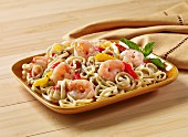 Linguine with peppers and prawns