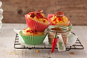 Pepper muffins with sweetcorn and sausage