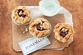 Damson muffins with cinnamon crumbles