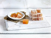 Mango jelly cubes with coconut