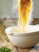 Steaming spaghetti carbonara