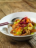 Warm carrot and grape salad with walnuts