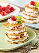 Pancake towers with cream cheese and raspberry cream