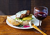 A pear and Roquefort burger