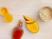 Juice, syrup, mango and oats
