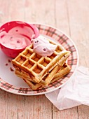 Buckwheat waffles with berry cream