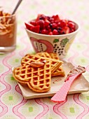 Caramel waffles with berries
