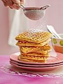 Marzipan waffles with banana