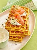 Carrot waffles with smoked salmon and crème fraîche