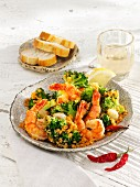 King prawns and broccoli with chilli and garlic crumbs