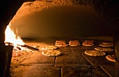 Focaccia in a wood-fired oven