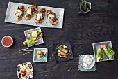 Verschiedene vegetarische Häppchen & Snacks für die Party