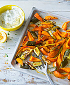 Oven roasted vegetables with a coriander dip