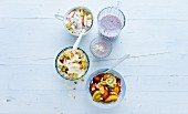 Breakfast recipes: muesli, milkshake and fruit salad