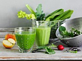 A green vegetable smoothie with apple