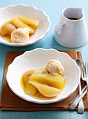 Chai ice-cream with poached pears
