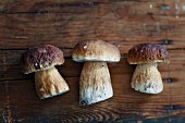Three fresh porcini mushrooms on a wooden board