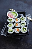 Vegetarian sushi in a takeaway box