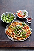 Lahmacun with lamb and salad