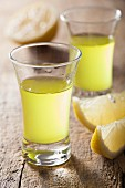 Two shot glasses of Limoncello