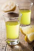 Two shot glasses of Limoncello