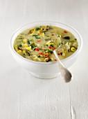 Corn Chowder (Maissuppe, USA) mit Kartoffeln, roten und grünen Paprika, Sellerie, Petersilie und Zwiebeln