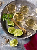 Four shots of tequila in salted rim glasses shown on a tray with limes and crushed ice