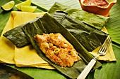 A chicken tamale from El Salvador