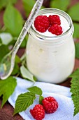 A glass of sheep's milk yogurt with raspberries on a garden table