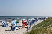 Blau-weiße Strandkörbe am Strand der Schaabe, Breege-Juliusruh