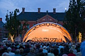 An open air concert in the grounds of Schloss Bothmer in Klütz, part of the MV festival, orchestra with Justus Franz