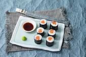 Maki sushi with salmon