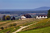 Winery and vineyards of Domaine de la Pinte. Arbois, Jura, France.