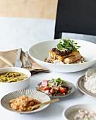 Fish curry with rice and salad (Sri Lanka)