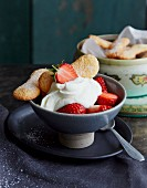 Dessert with strawberries, cream and homemade sponge biscuits