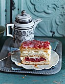 Holländerschnitten (puff pastry layer cakes with cream and cherries)