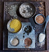 Various seeds and grains for baking bread