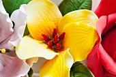 A colourful sugar flower wreath
