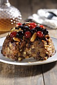Christmas pudding with almonds and glace cherries (Australia)