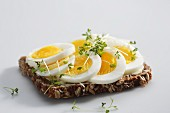 A slice of wholemeal bread topped with hard-boiled eggs and cress