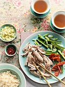 Hainan chicken with vegetables and rice (China)