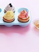 Various cupcakes in a baking mould