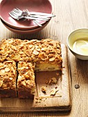 Rhubarb, almond and orange cake with a ginger glaze