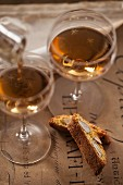 Cantuccini e Vin Santo (almond biscuits and dessert wine, Italy)