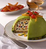 Cassata (dessert made with ricotta cream, candied fruits and pistachios, Italy)