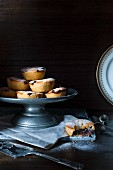 Christmas mince pies on a metal cake stand