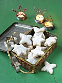 Cinnamon stars in a biscuit tin